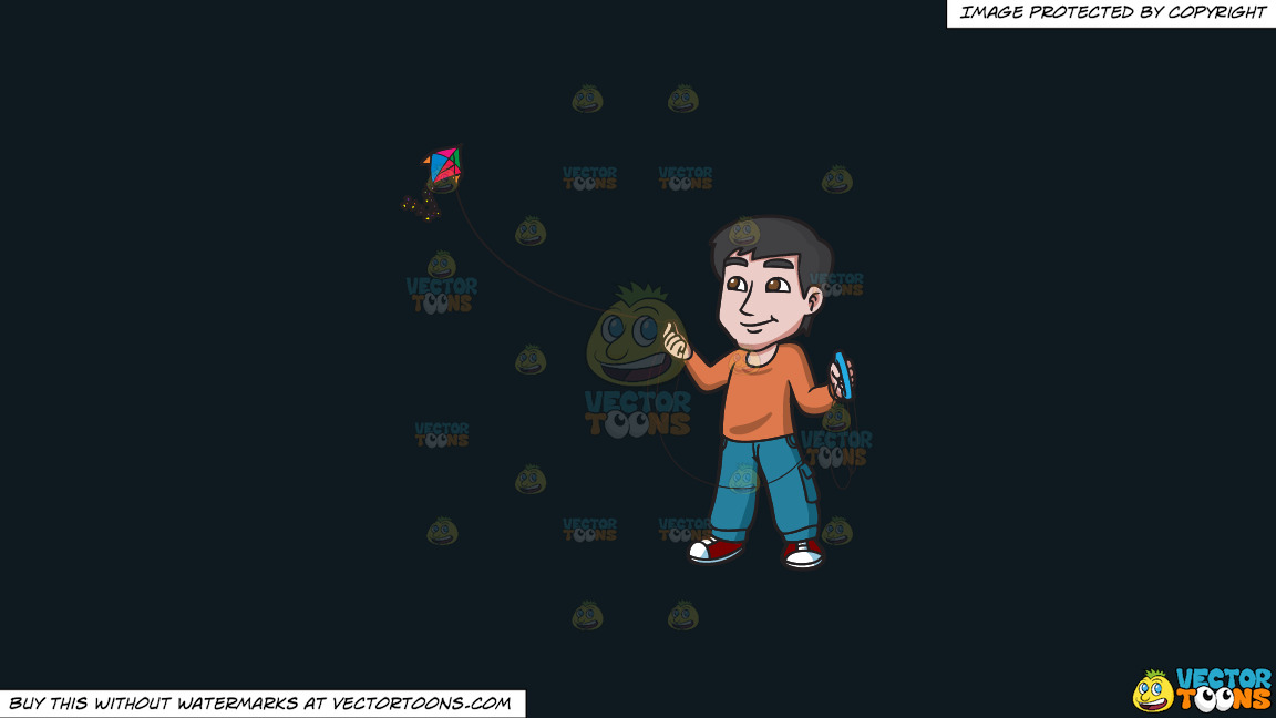 A Contented Guy Flying A Kite On A Solid Off Black 0f1a20 Background thumbnail
