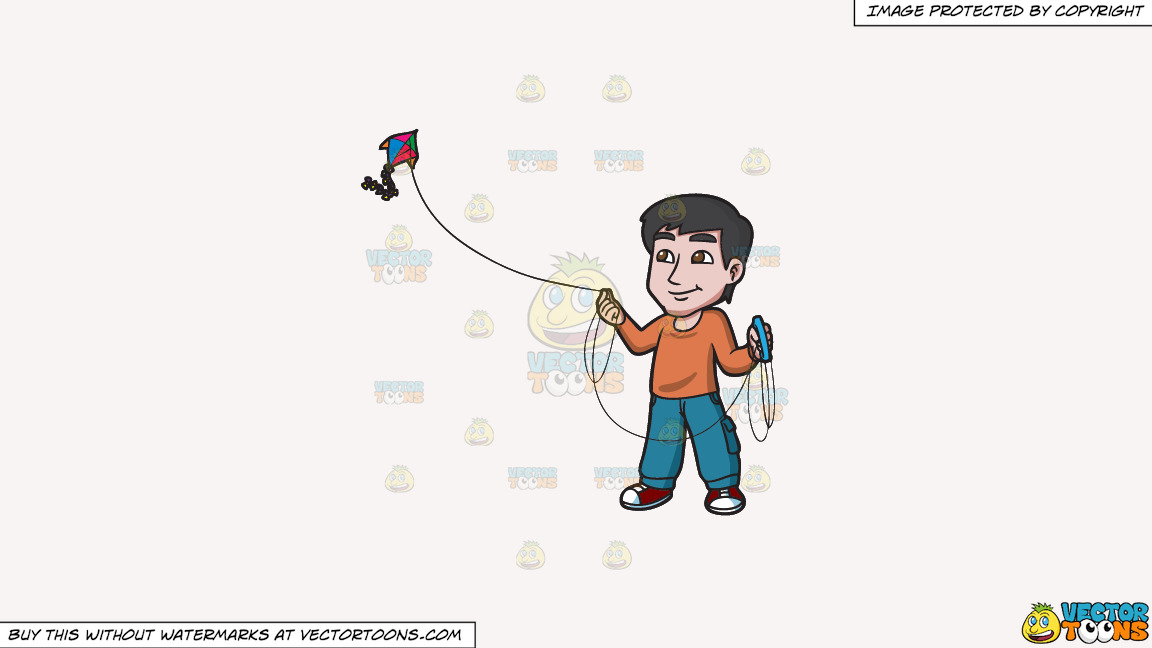 A Contented Guy Flying A Kite On A Solid White Smoke F7f4f3 Background thumbnail