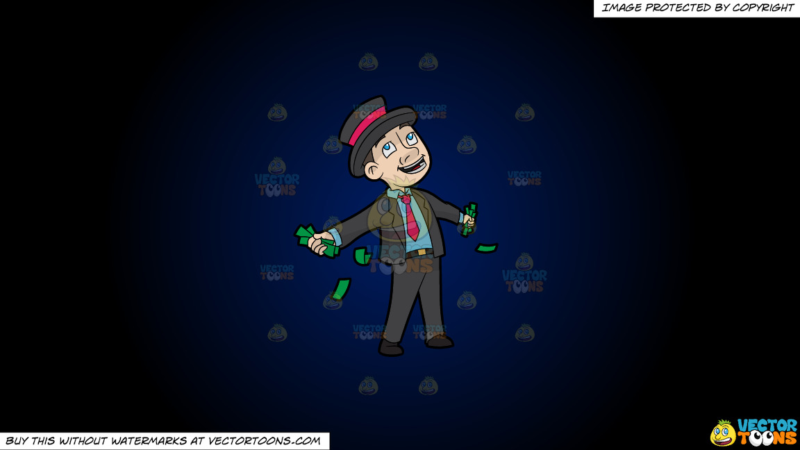 A Contented Man With A Bunch Of Cash In His Hands On A Dark Blue And Black Gradient Background thumbnail