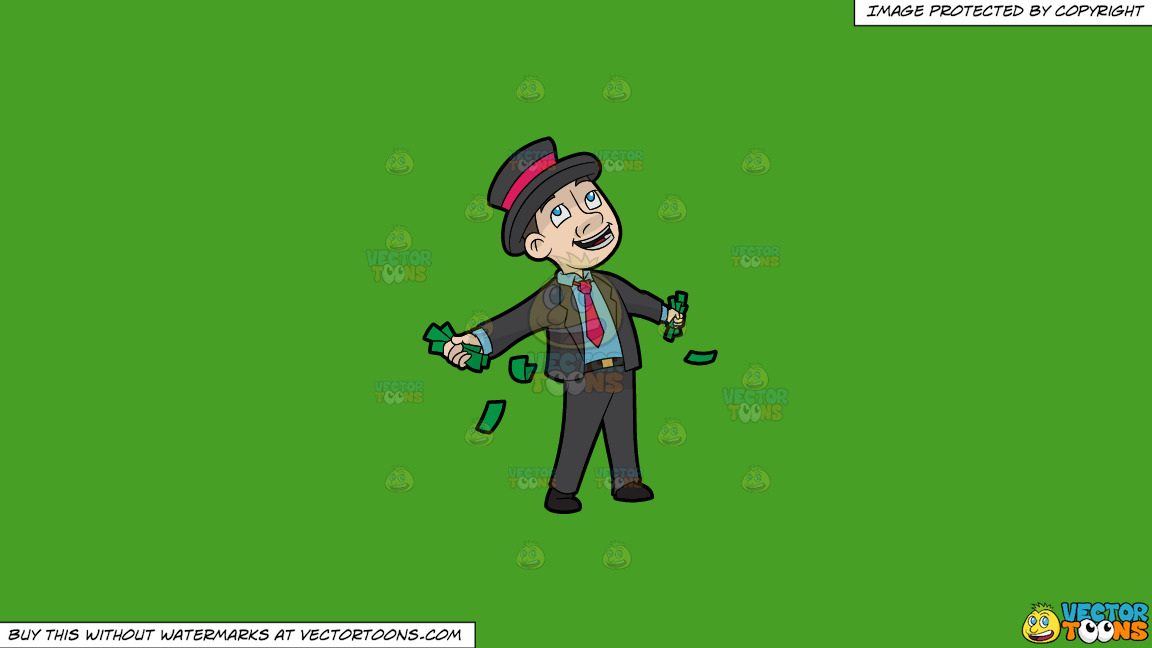 A Contented Man With A Bunch Of Cash In His Hands On A Solid Kelly Green 47a025 Background thumbnail