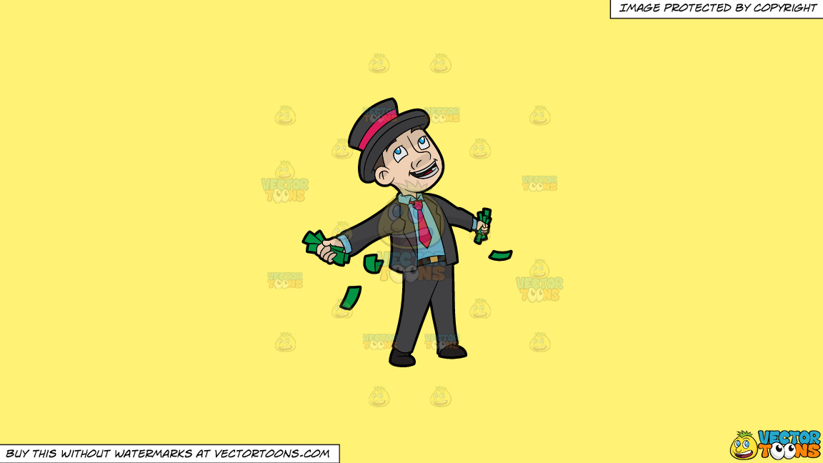 A Contented Man With A Bunch Of Cash In His Hands On A Solid Sunny Yellow Fff275 Background thumbnail