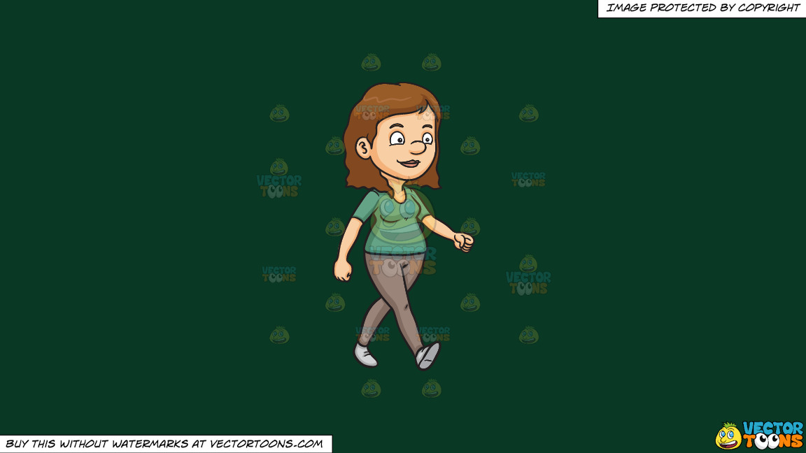 A Contented Woman Walking To Her Place On A Solid Dark Green 093824 Background thumbnail