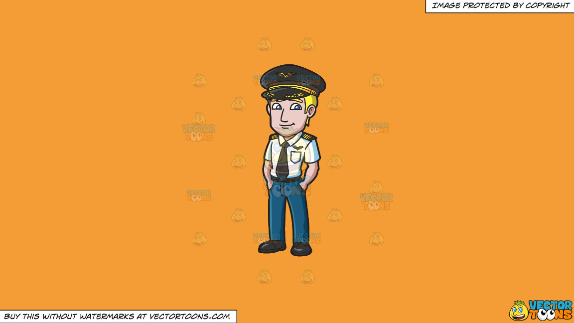 A Cool And Calm Pilot On A Solid Deep Saffron Gold F49d37 Background thumbnail