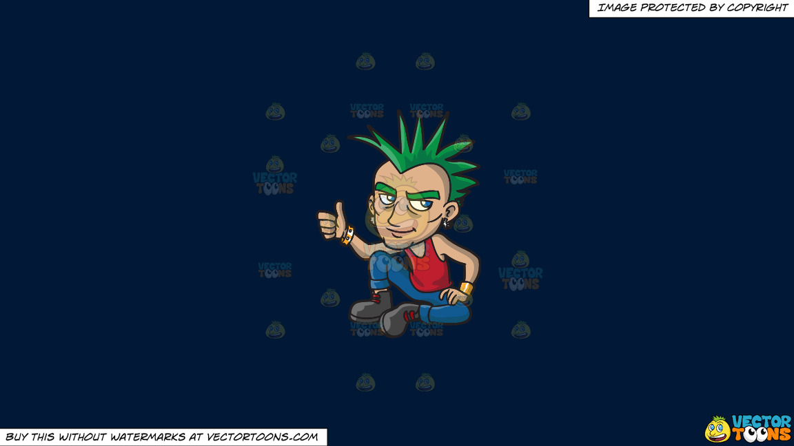 A Cool And Calm Punk On A Solid Dark Blue 011936 Background thumbnail