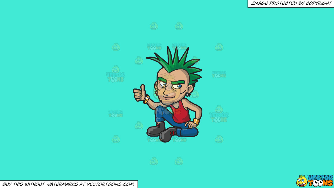 A Cool And Calm Punk On A Solid Turquiose 41ead4 Background thumbnail