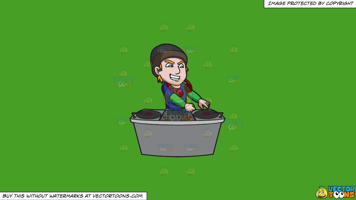 A Cool And Excited Dj On A Solid Kelly Green 47a025 Background thumbnail