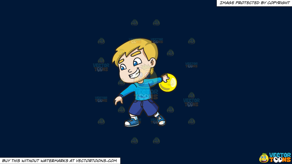 A Cool Boy Enjoying The Game Of Bowling On A Solid Dark Blue 011936 Background thumbnail