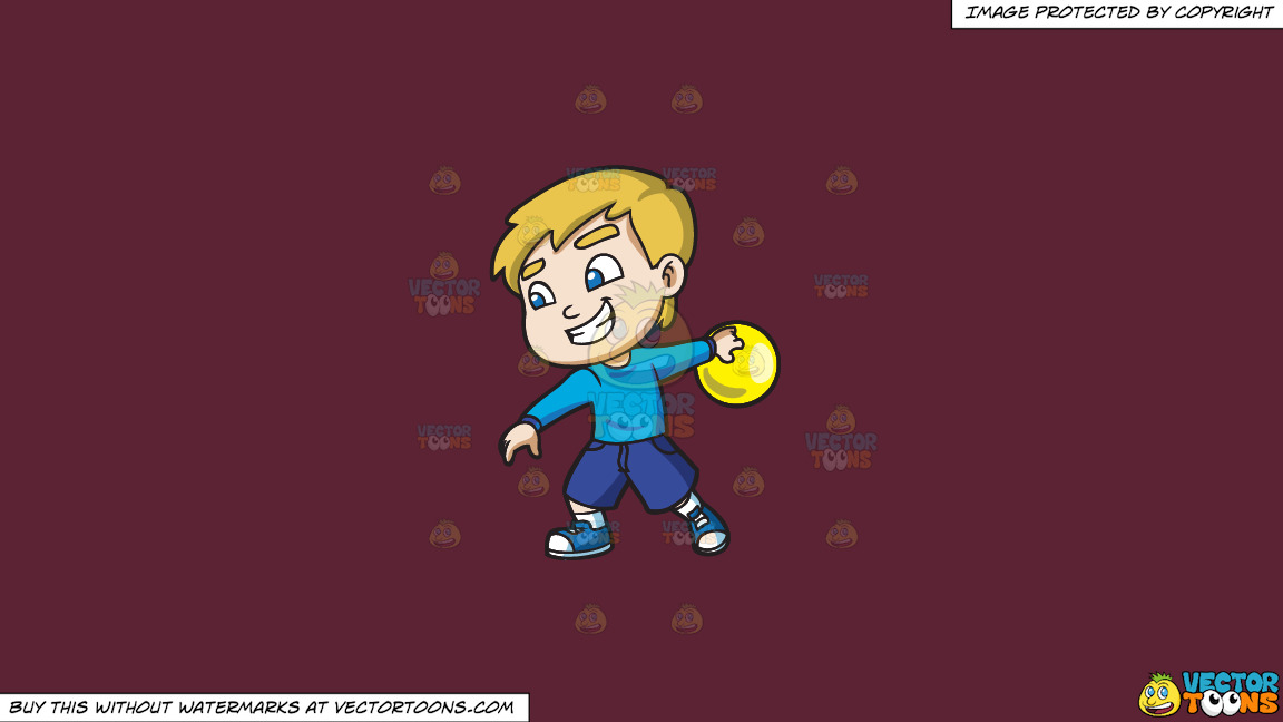 A Cool Boy Enjoying The Game Of Bowling On A Solid Red Wine 5b2333 Background thumbnail