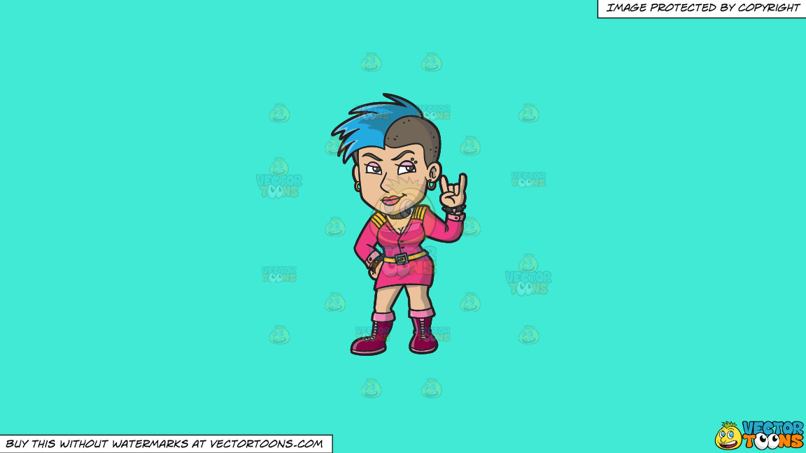 A Cool Female Punk On A Solid Turquiose 41ead4 Background thumbnail