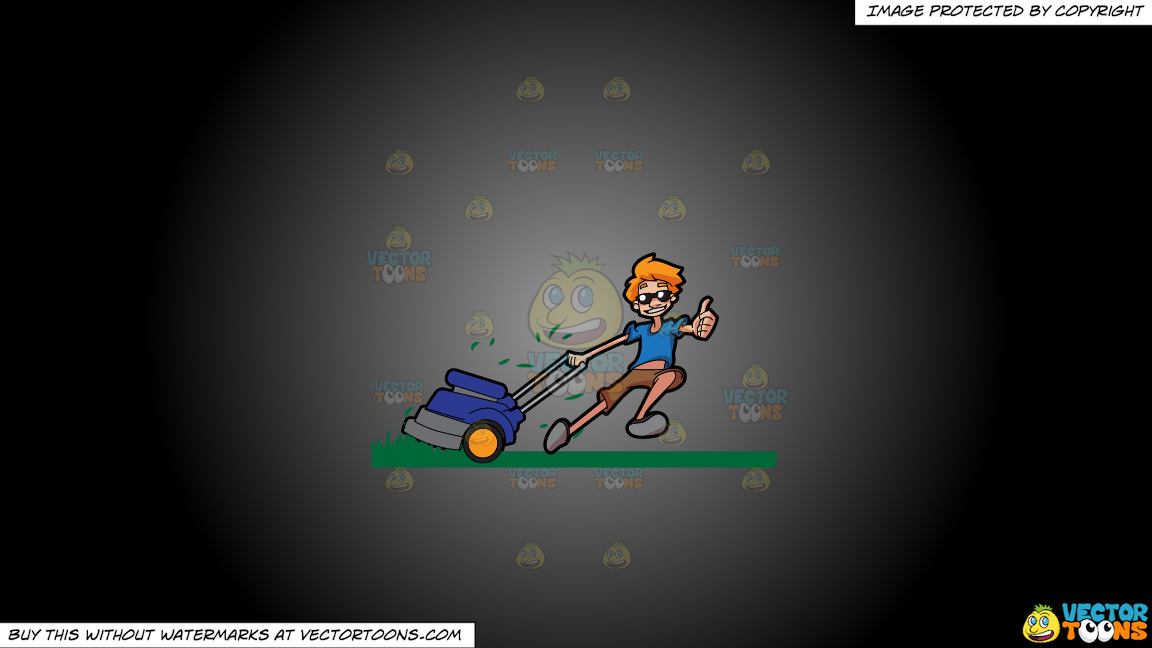 A Cool Guy Cutting Grass Using A Lawnmower On A Grey And Black Gradient Background thumbnail