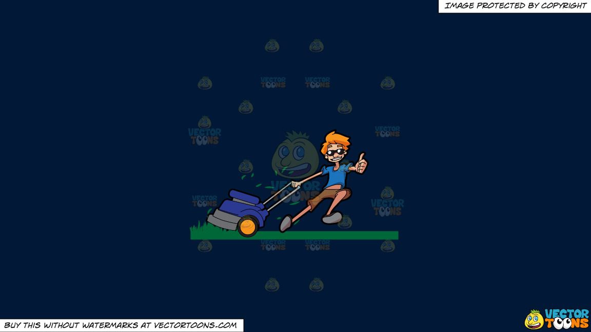 A Cool Guy Cutting Grass Using A Lawnmower On A Solid Dark Blue 011936 Background thumbnail