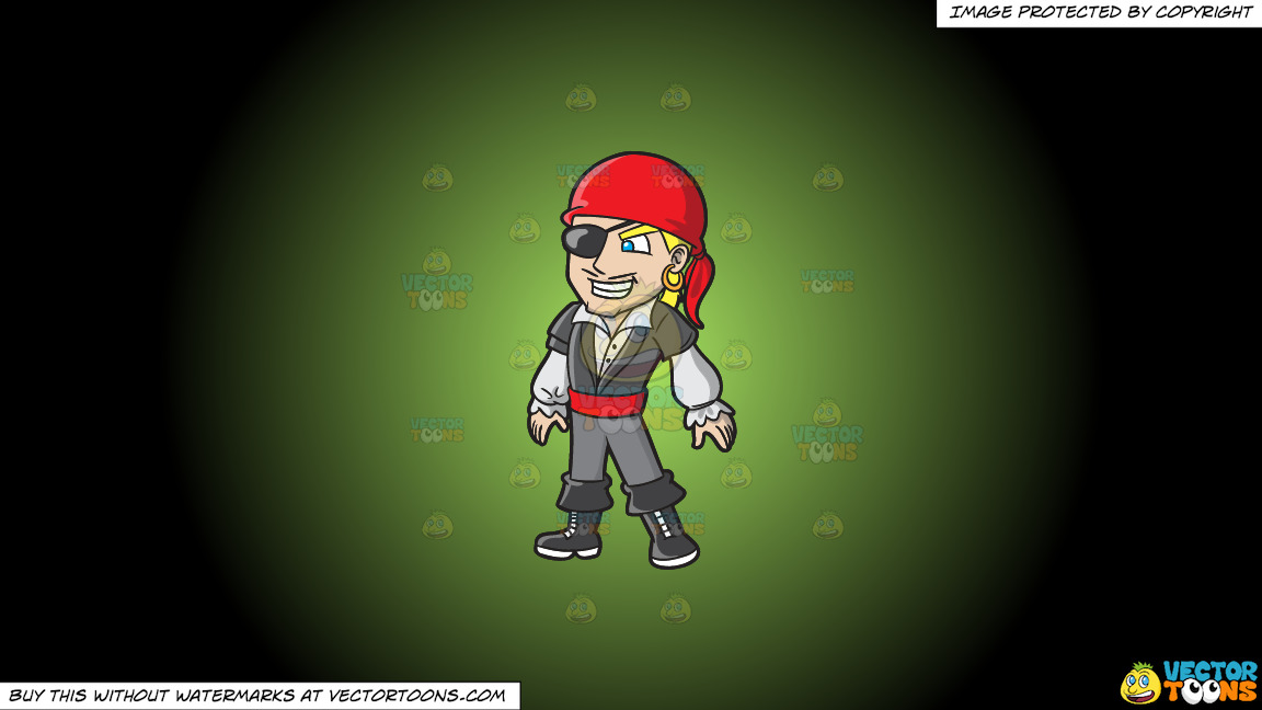 A Cool Pirate With An Eye Patch On A Green And Black Gradient Background thumbnail