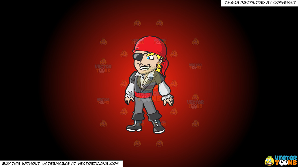 A Cool Pirate With An Eye Patch On A Red And Black Gradient Background thumbnail