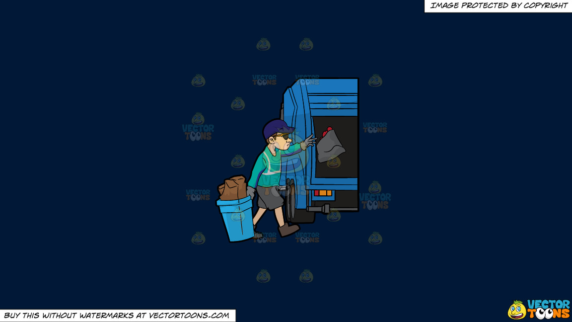 A Cool Sanitation Worker On A Solid Dark Blue 011936 Background thumbnail