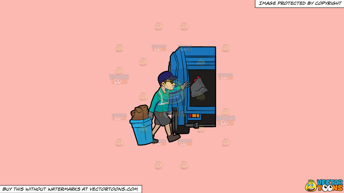 A Cool Sanitation Worker On A Solid Melon Fcb9b2 Background thumbnail