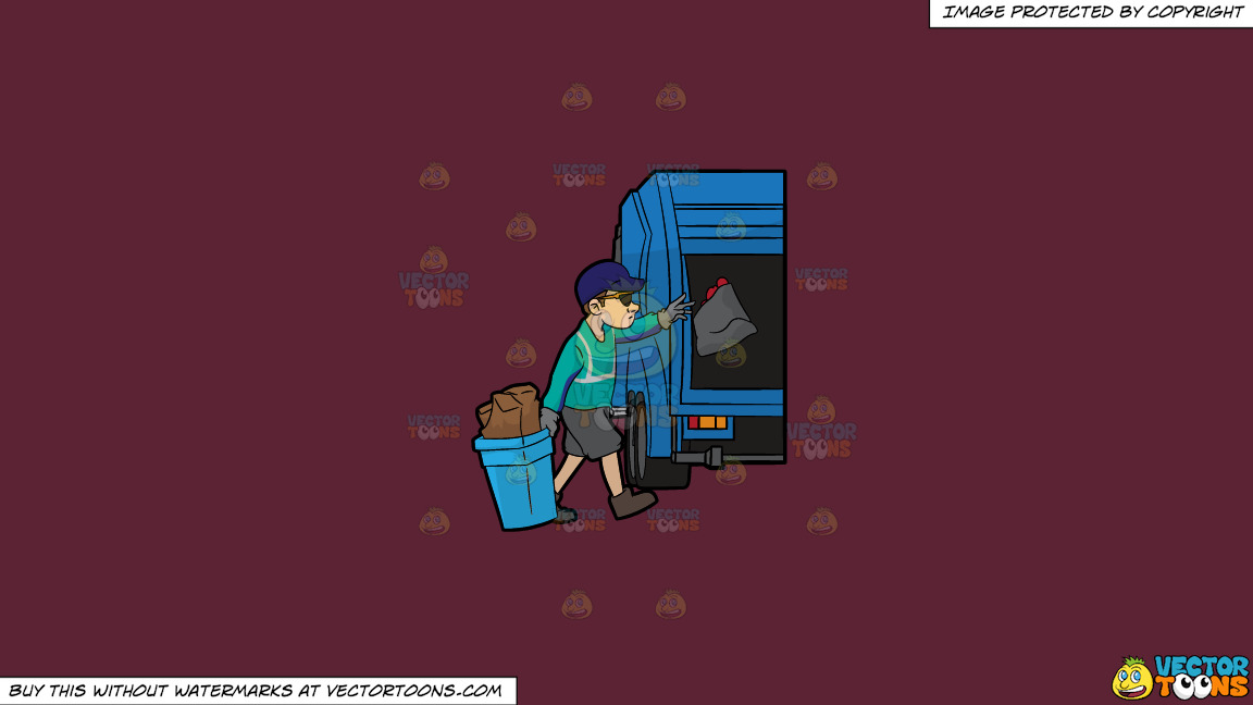 A Cool Sanitation Worker On A Solid Red Wine 5b2333 Background thumbnail