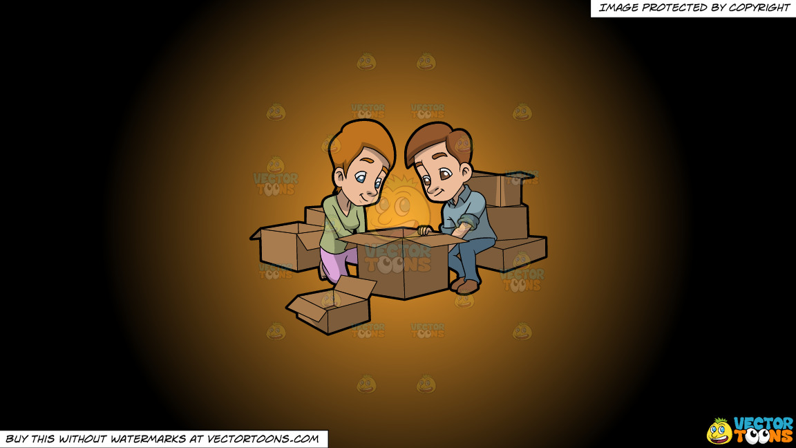 A Couple Arranging The Boxes They Will Use For Moving Out On A Orange And Black Gradient Background thumbnail
