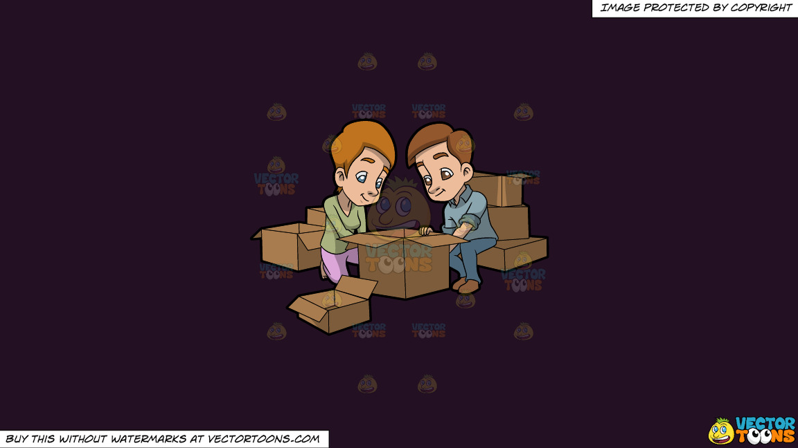 A Couple Arranging The Boxes They Will Use For Moving Out On A Solid Purple Rasin 241023 Background thumbnail
