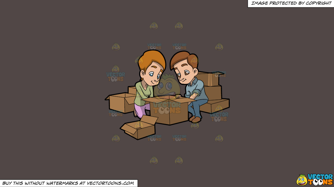 A Couple Arranging The Boxes They Will Use For Moving Out On A Solid Quartz 504746 Background thumbnail