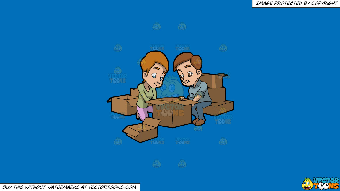 A Couple Arranging The Boxes They Will Use For Moving Out On A Solid Spanish Blue 016fb9 Background thumbnail