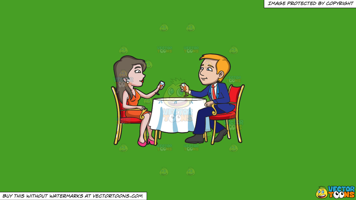 A Couple Celebrating Their Anniversary On A Solid Kelly Green 47a025 Background thumbnail