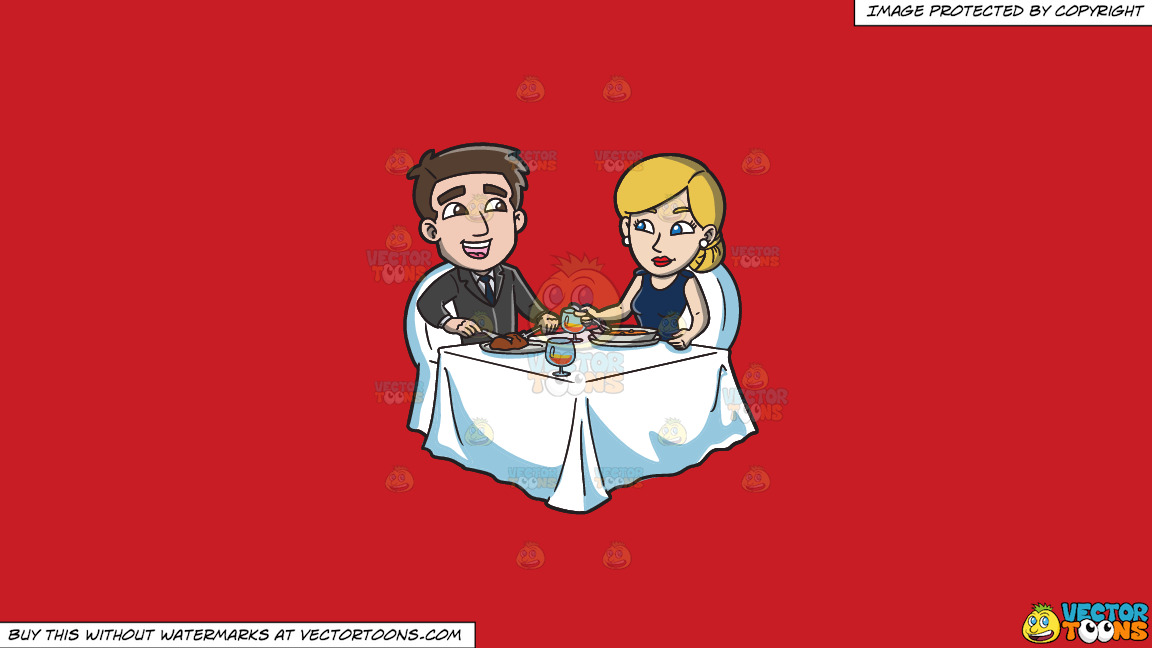 A Couple Celebrating Their Anniversary With A Dinner For Two On A Solid Fire Engine Red C81d25 Background thumbnail