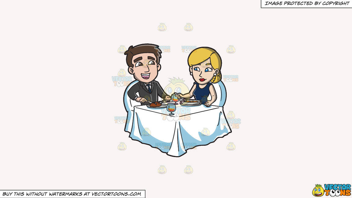 A Couple Celebrating Their Anniversary With A Dinner For Two On A Solid White Smoke F7f4f3 Background thumbnail
