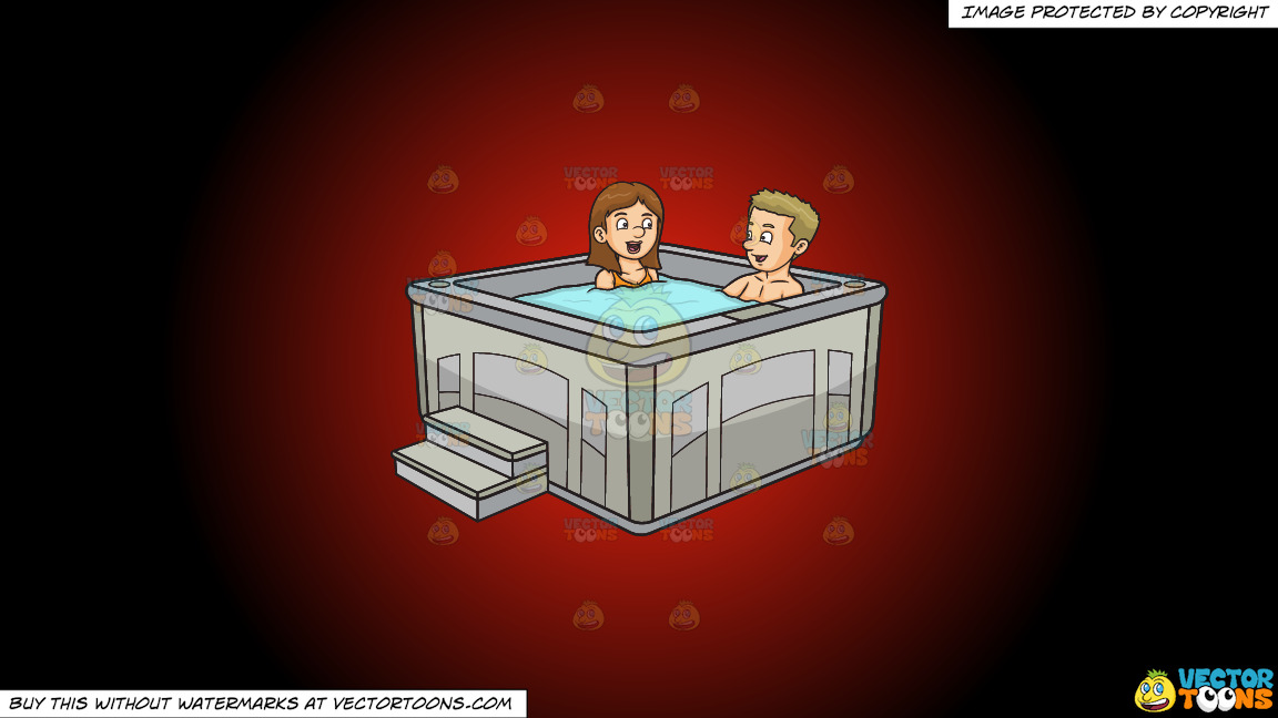 A Couple Chats While Enjoying Their Hot Tub Dip On A Red And Black Gradient Background thumbnail