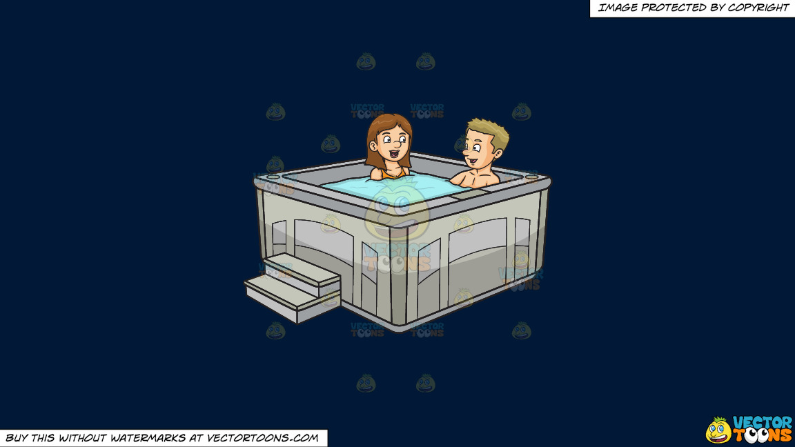 A Couple Chats While Enjoying Their Hot Tub Dip On A Solid Dark Blue 011936 Background thumbnail