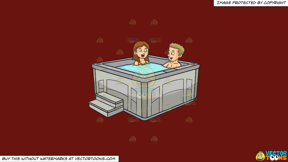 A Couple Chats While Enjoying Their Hot Tub Dip On A Solid Maroon 69140e Background thumbnail