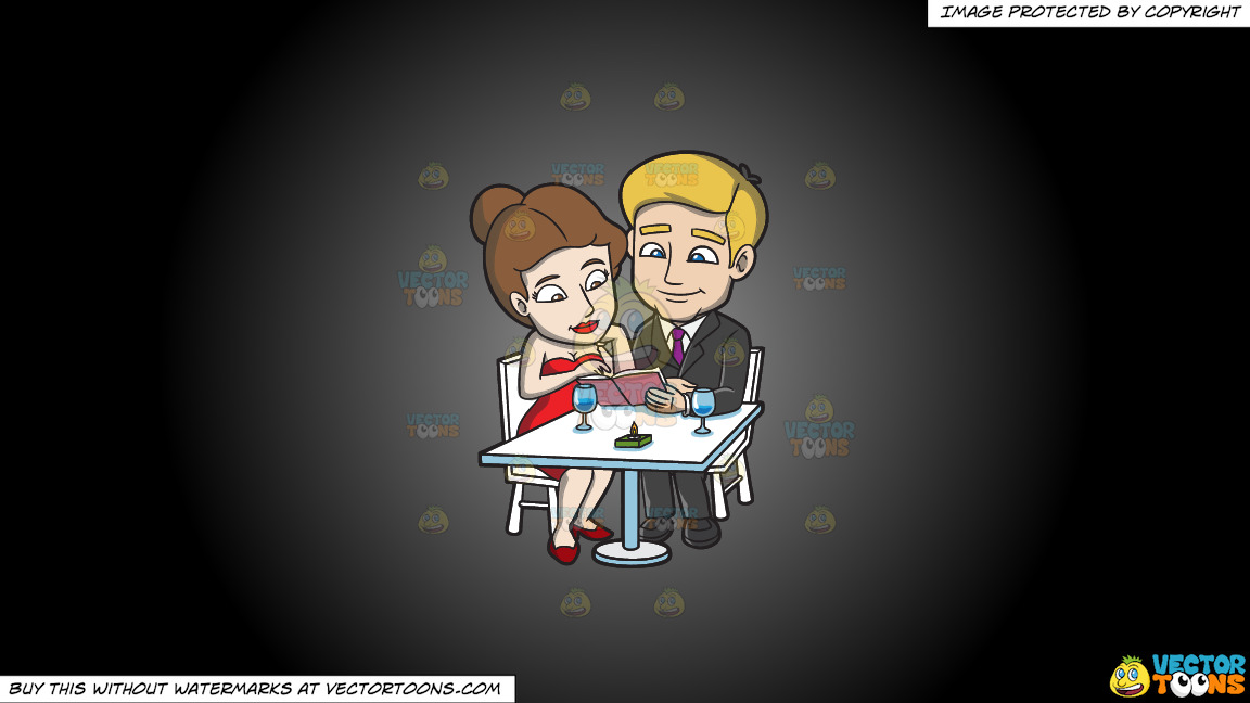 A Couple Dining Out On A Luxurious Dinner Date On A Grey And Black Gradient Background thumbnail