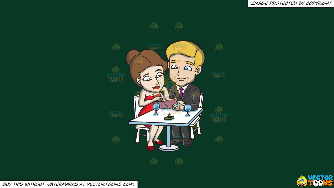A Couple Dining Out On A Luxurious Dinner Date On A Solid Dark Green 093824 Background thumbnail