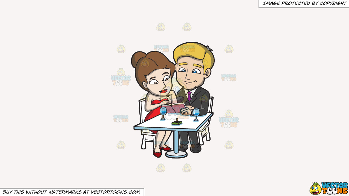 A Couple Dining Out On A Luxurious Dinner Date On A Solid White Smoke F7f4f3 Background thumbnail