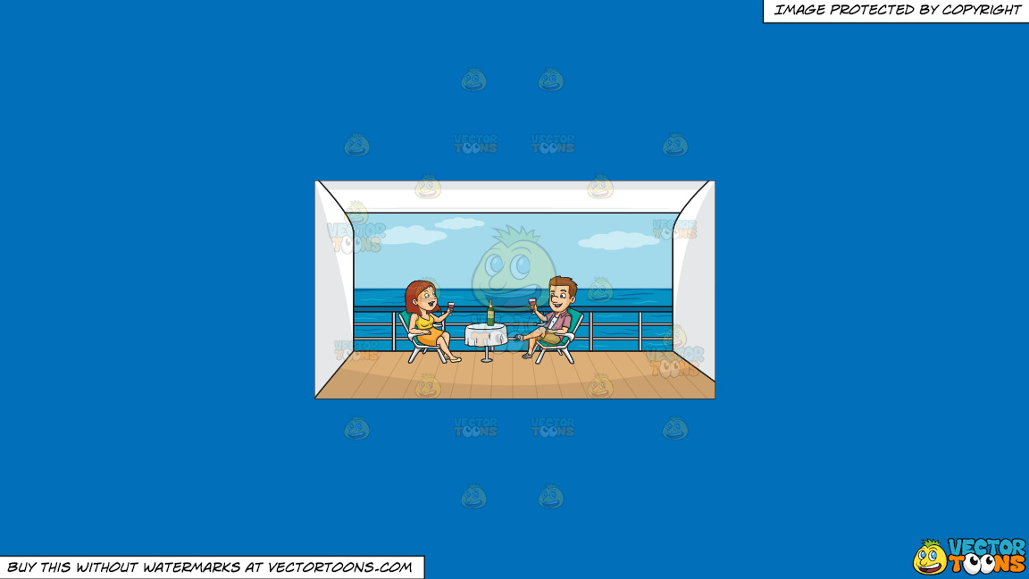 A Couple Drinking Wine Outside On Their Cruise Ship Balcony On A Solid Spanish Blue 016fb9 Background thumbnail