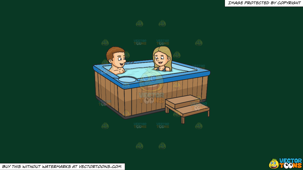 A Couple Enjoying A Dip In The Tub On A Solid Dark Green 093824 Background thumbnail