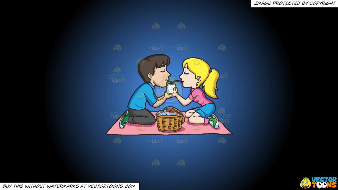 A Couple Enjoying A Picnic Date On A Blue And Black Gradient Background thumbnail