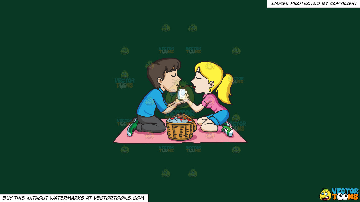 A Couple Enjoying A Picnic Date On A Solid Dark Green 093824 Background thumbnail