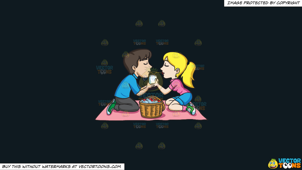 A Couple Enjoying A Picnic Date On A Solid Off Black 0f1a20 Background thumbnail