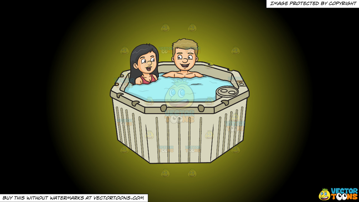 A Couple Having A Nice Conversation While In A Hot Tub On A Yellow And Black Gradient Background thumbnail