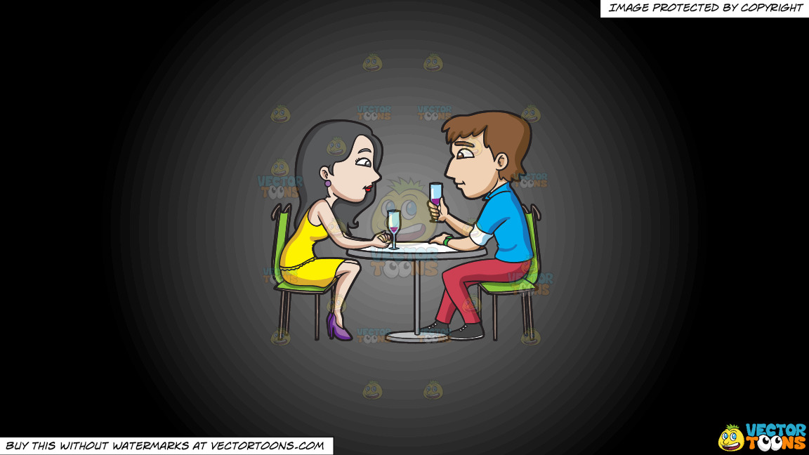 A Couple Having Drinks On A Grey And Black Gradient Background thumbnail