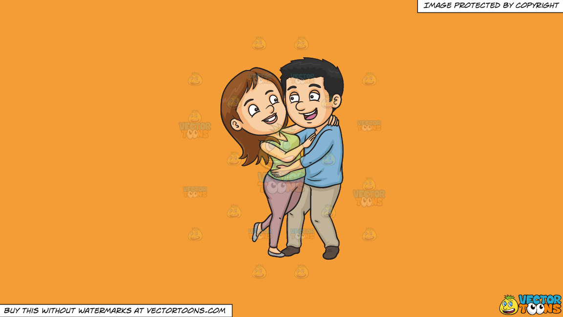 A Couple Having Fun On A Solid Deep Saffron Gold F49d37 Background thumbnail