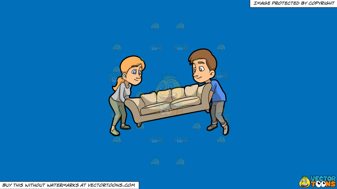 A Couple Helping Each Other Lift A Sofa On A Solid Spanish Blue 016fb9 Background thumbnail