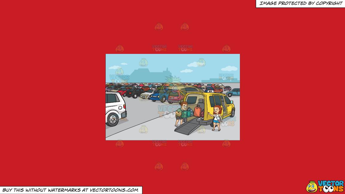 A Couple Loading Their Luggage Into The Taxi On A Solid Fire Engine Red C81d25 Background thumbnail