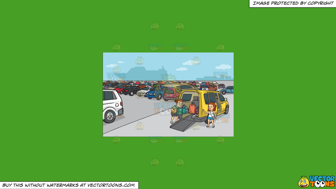 A Couple Loading Their Luggage Into The Taxi On A Solid Kelly Green 47a025 Background thumbnail