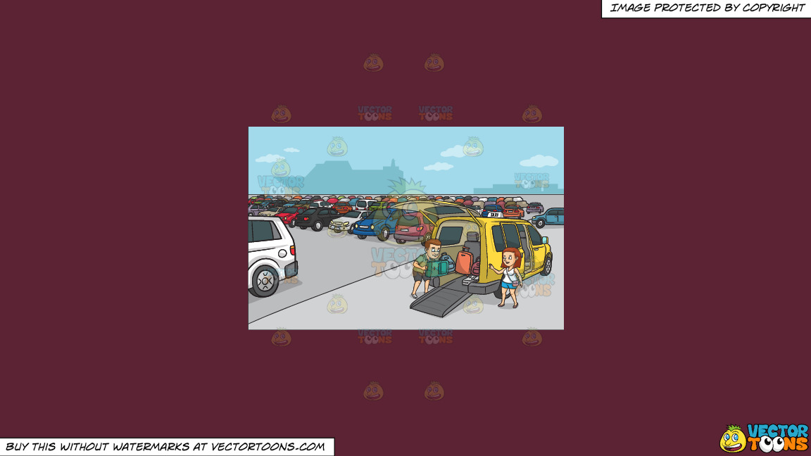 A Couple Loading Their Luggage Into The Taxi On A Solid Red Wine 5b2333 Background thumbnail