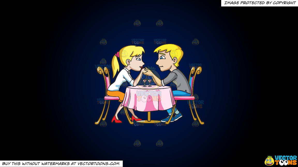 A Couple Looking Very Much In Love With Each Other On A Dark Blue And Black Gradient Background thumbnail