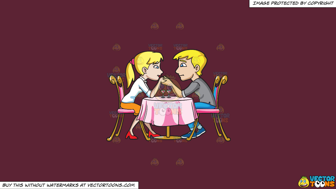 A Couple Looking Very Much In Love With Each Other On A Solid Red Wine 5b2333 Background thumbnail