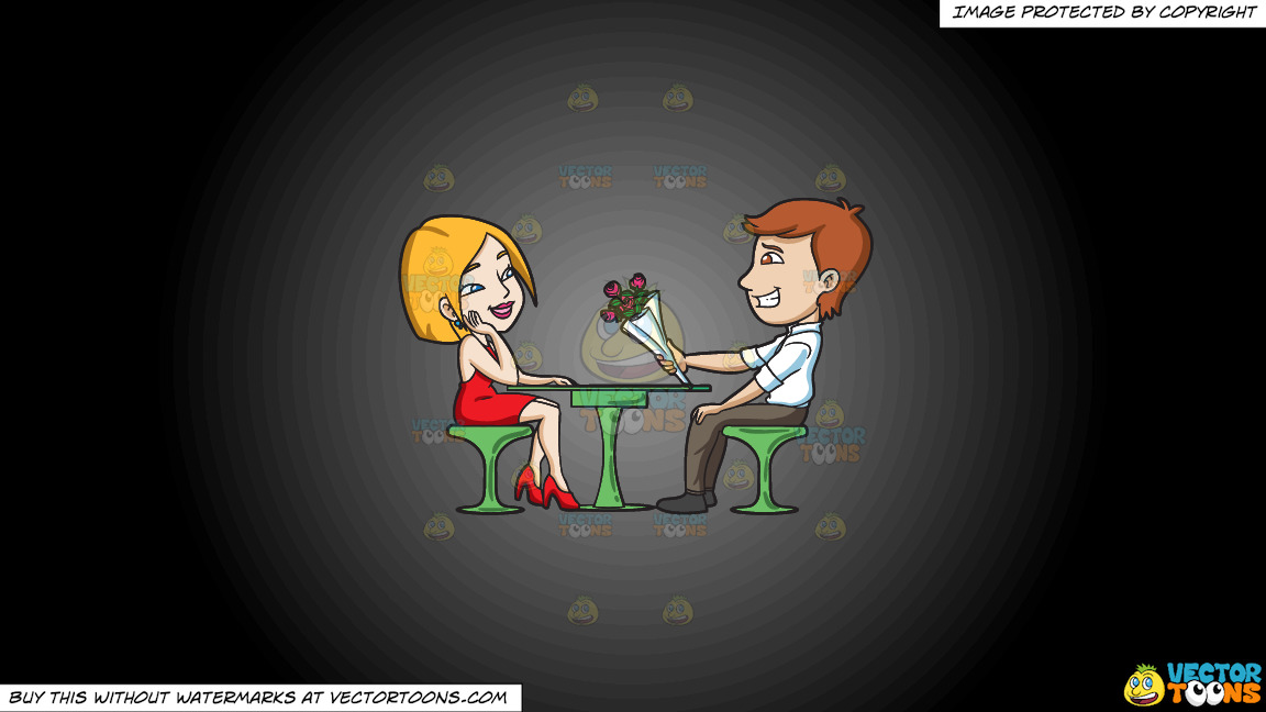 A Couple On A Date On A Grey And Black Gradient Background thumbnail