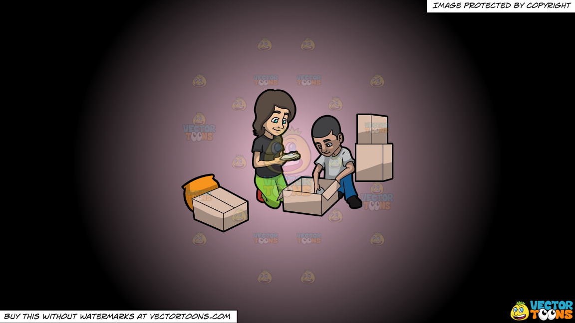 A Couple Packing Plates On A Pink And Black Gradient Background thumbnail