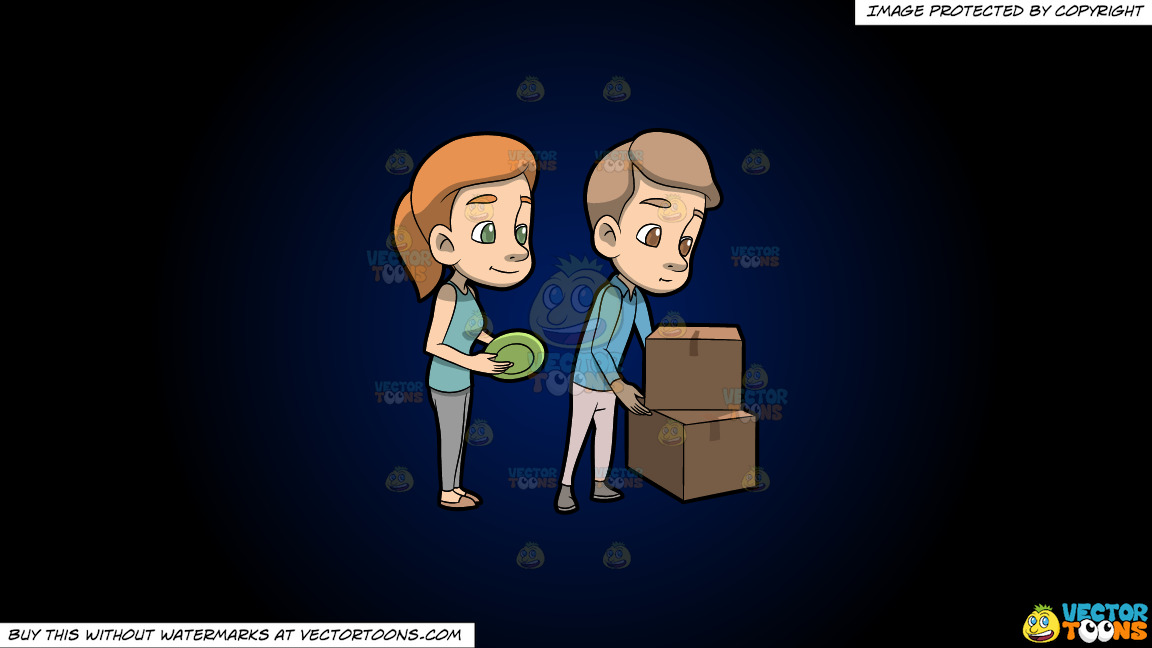 A Couple Packing Their Dinnerware On A Dark Blue And Black Gradient Background thumbnail